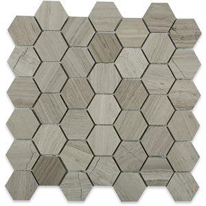 """Wooden Beige 2"""" Hexagon"""