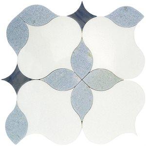 MJ Blue Blazingstar - White Thassos, Blue Celeste & Azul Macauba