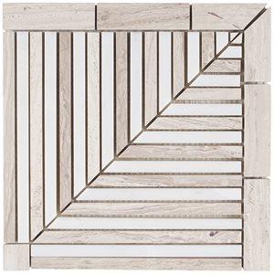 Avant Garde Linear Corner Piece Asian Statuary & Wooden Beige