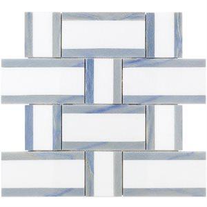 Interlace White Thassos & Blue Macauba