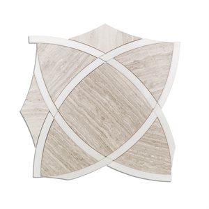 Zephyr - Wooden Beige & White Thassos Line